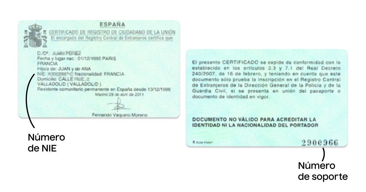 Certificado de registro de ciudadano con número de soporte del NIE