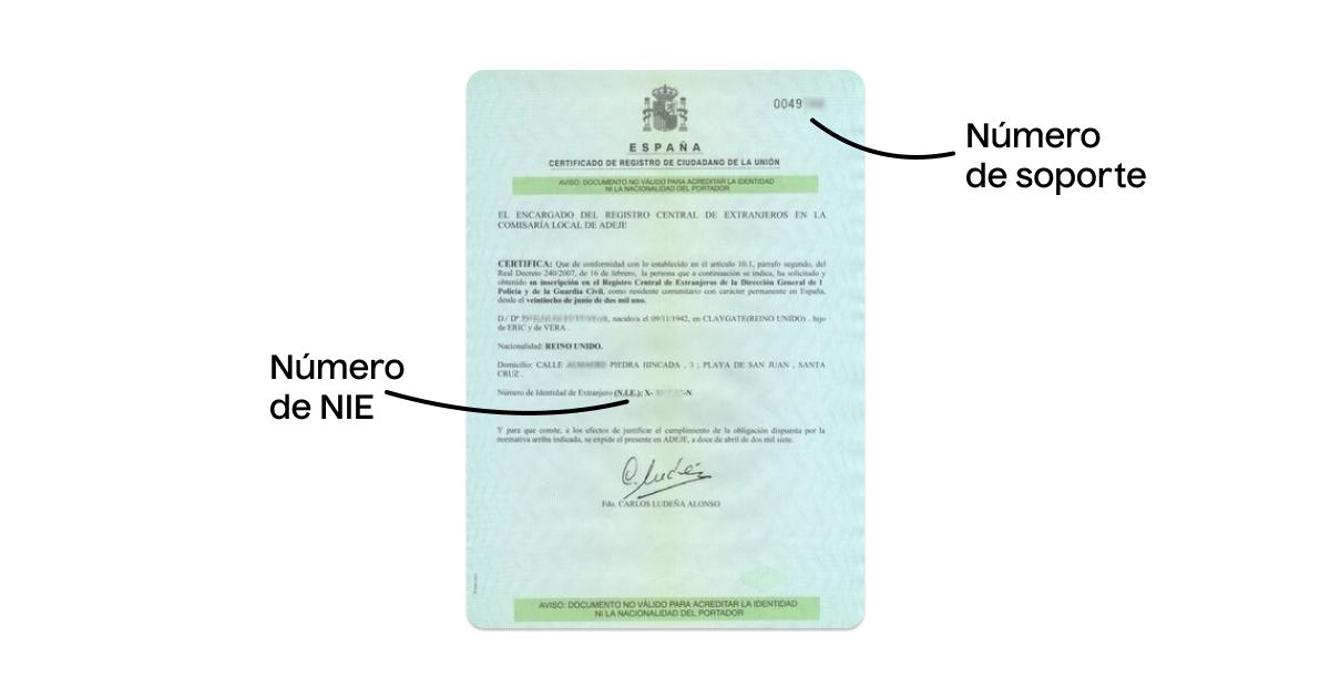 Certificado de registro de ciudadano antiguo con número de soporte del NIE
