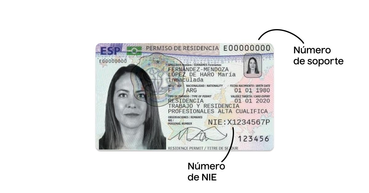 Permiso de residencia con el número de soporte del NIE