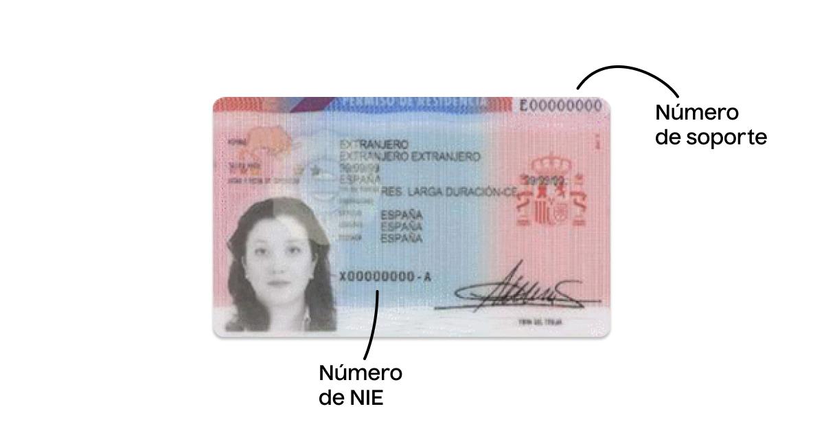 Permiso de residencia antiguo con el número de soporte del NIE
