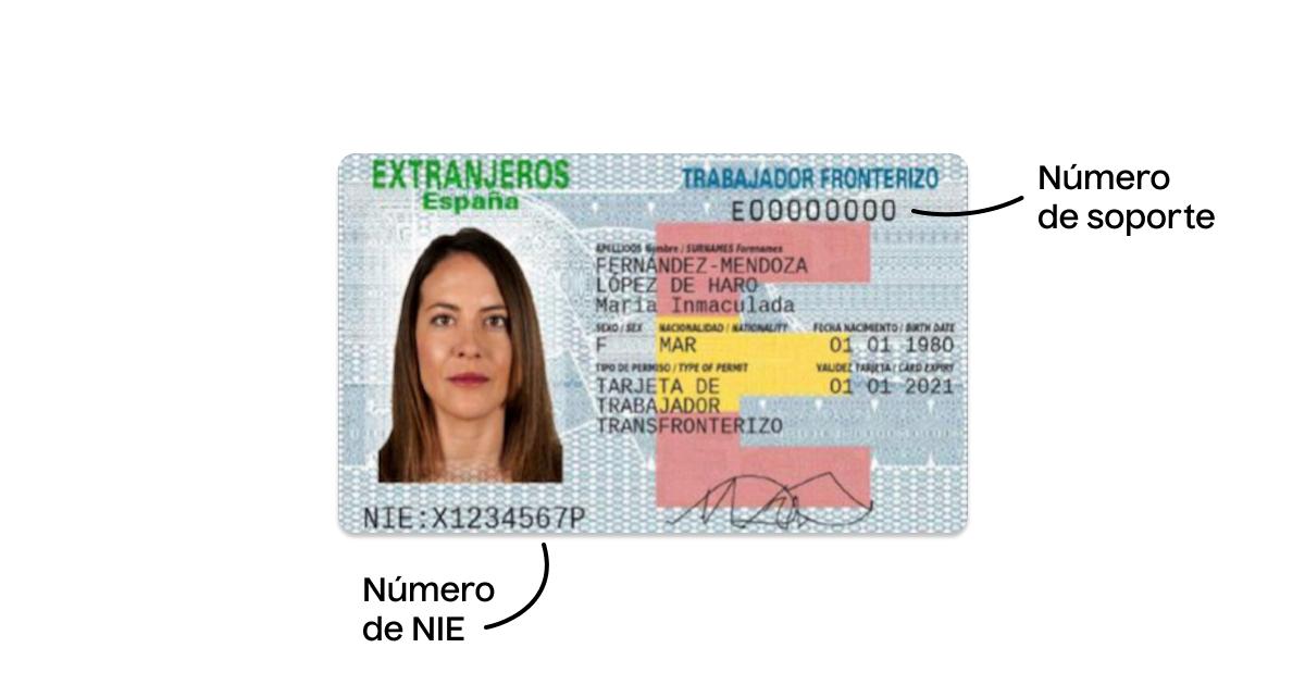 Tarjeta de extranjero con el número de soporte del NIE